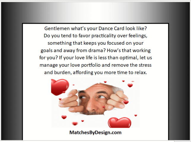 Whats Your Dance Card Look Like - MatchesByDesign.com