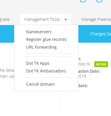 Management Tool of Domain - Freenom