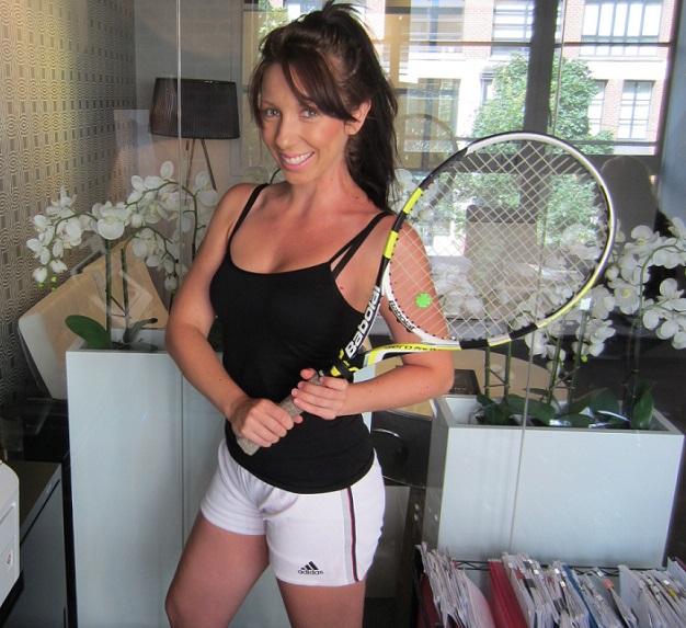 Alex in tennis in office