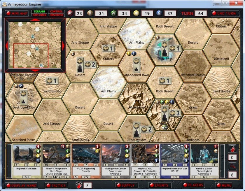 The main map of Armageddon Empires. My hand of cards is visible at the bottom.