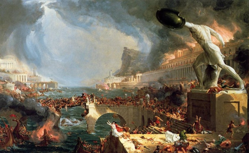 "This painting seemed appropriate: ""The Course of Empire - Destruction"", by Thomas Cole, 1836"