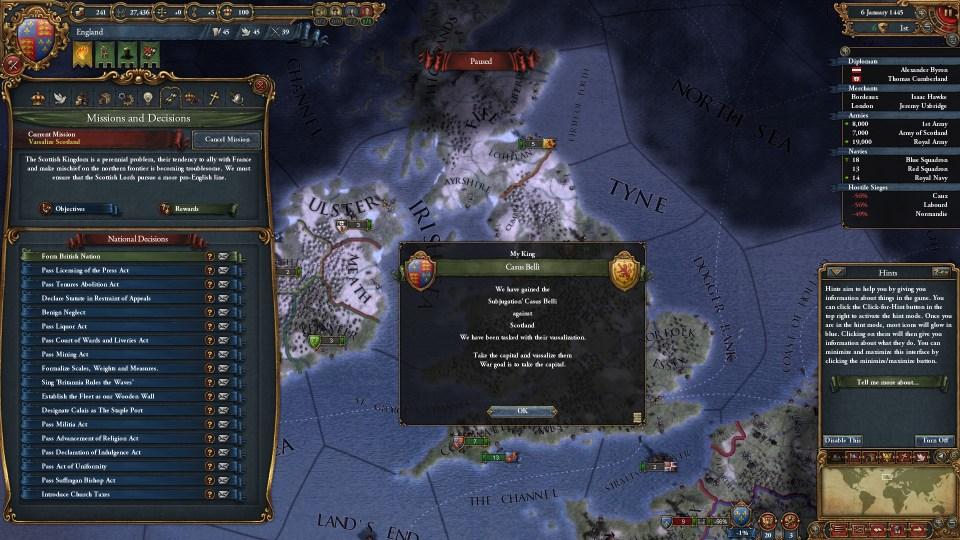 EU4 Subjugate Scotland