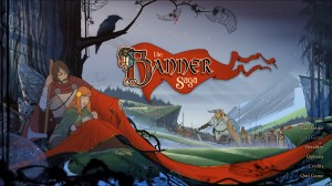 Start the game! Banner Saga has a gorgeous title screen.