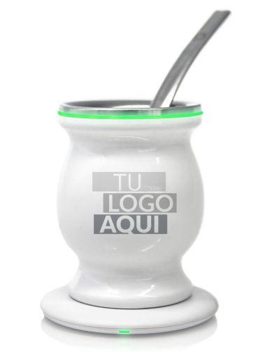 Mate Eléctrico Corporativo Marca Empresa Logo Inductivo Led Blanco Brillante con Luz Verde y Bombilla Chata de Acero