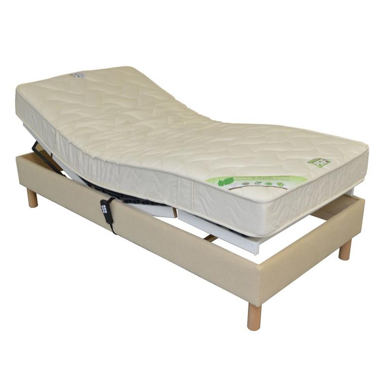 sommier lit electrique de relaxation habille tissu personnalisable