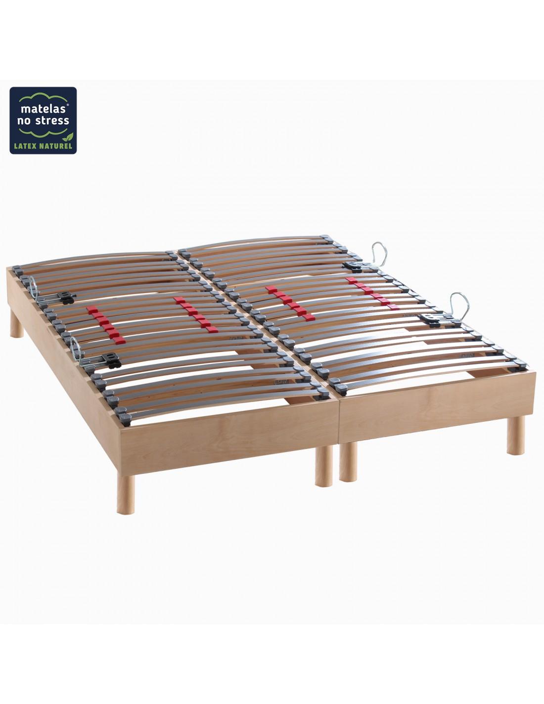 sommier 160x200 bois naturel finition haut de gamme