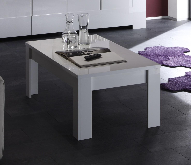 table basse rectangulaire design laque blanc judy