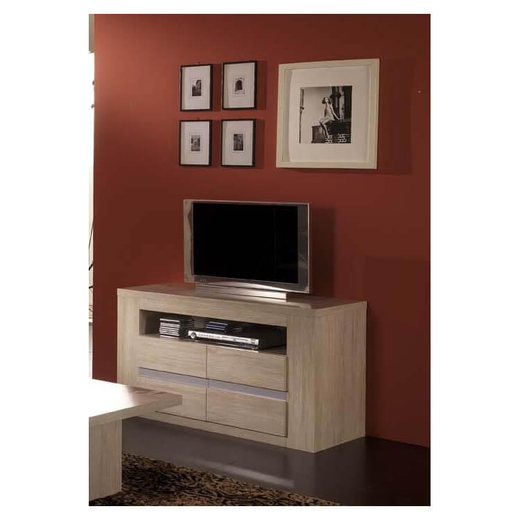 meuble tv hifi design chene blanchi kayla ii