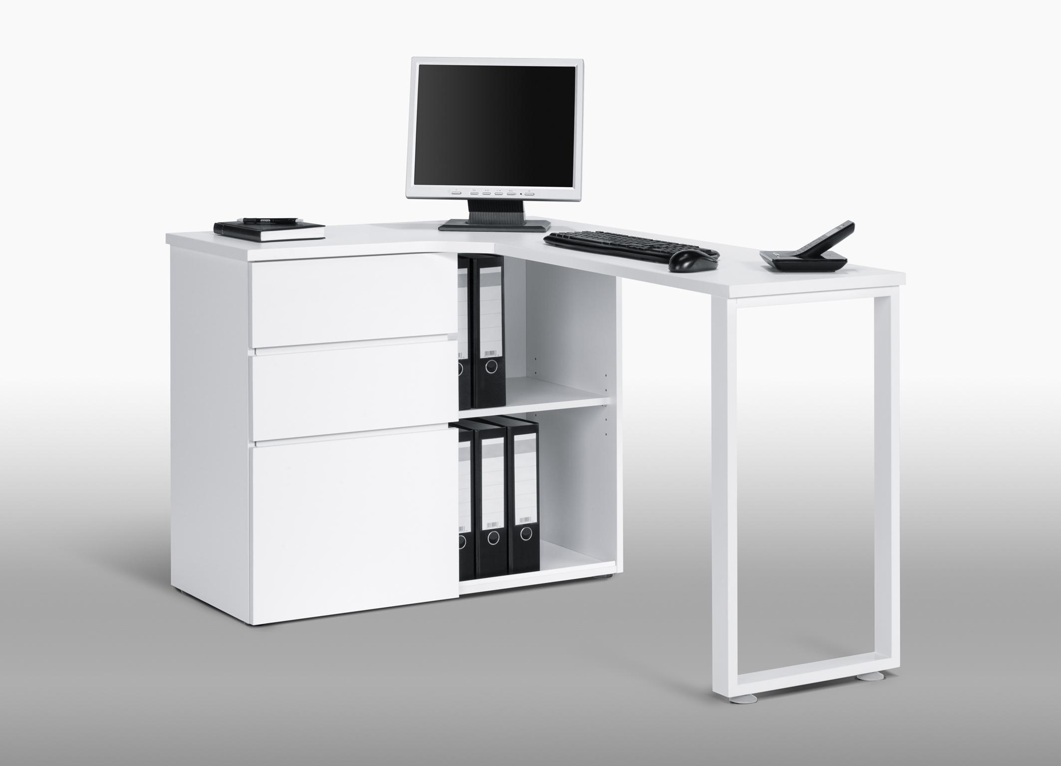 bureau informatique d angle design avec rangement blanc lelia