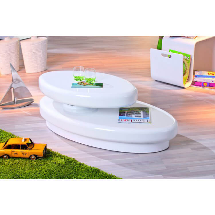 table basse ovale design laquee blanche fly