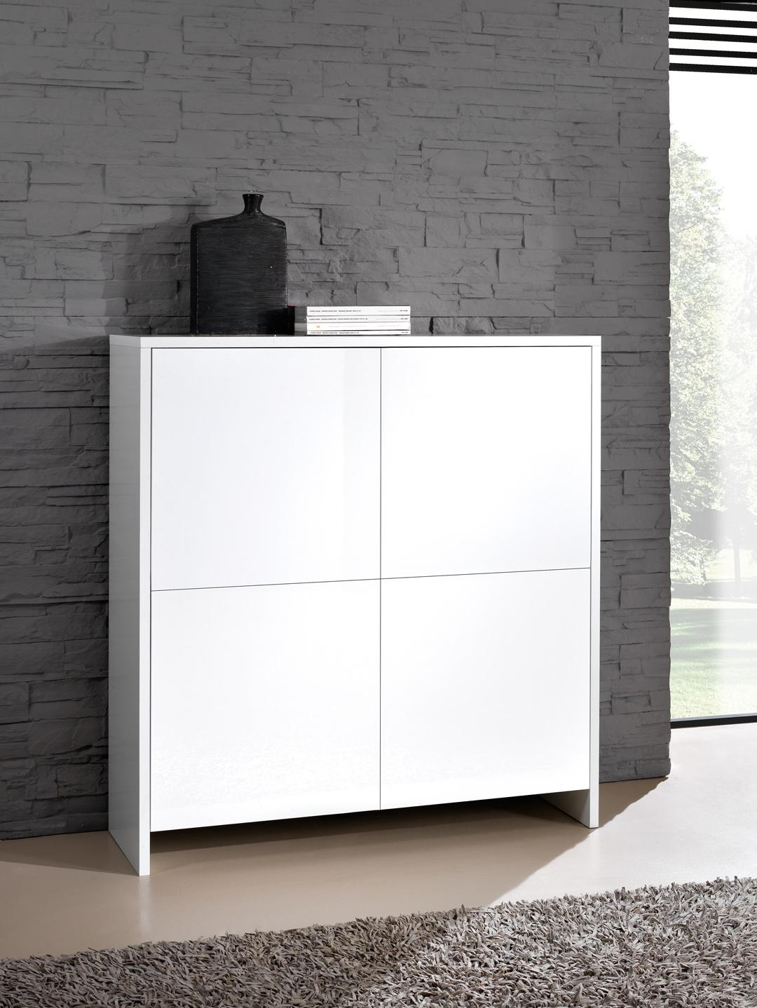 meuble de rangement design 4 portes blanc laque roxane