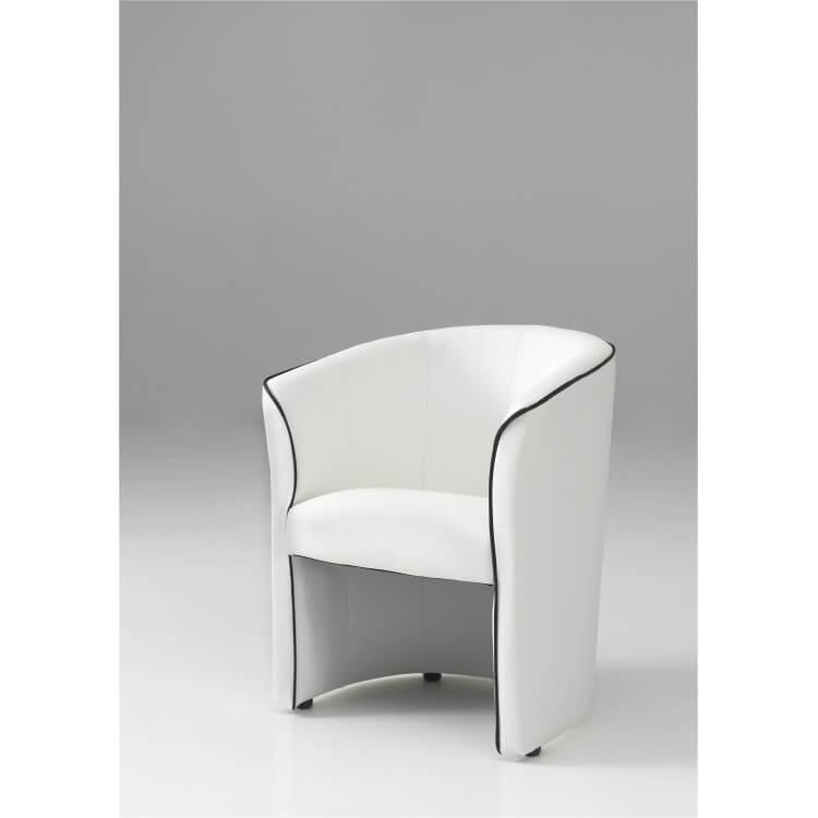 fauteuil cabriolet moderne en pu blanc cyrille