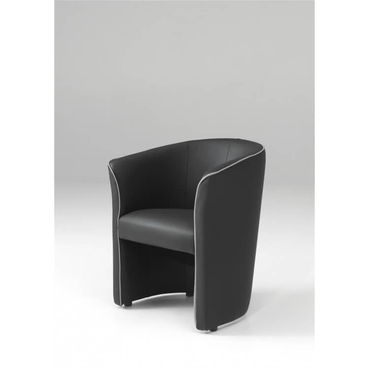 fauteuil cabriolet moderne en pu noir cyrille