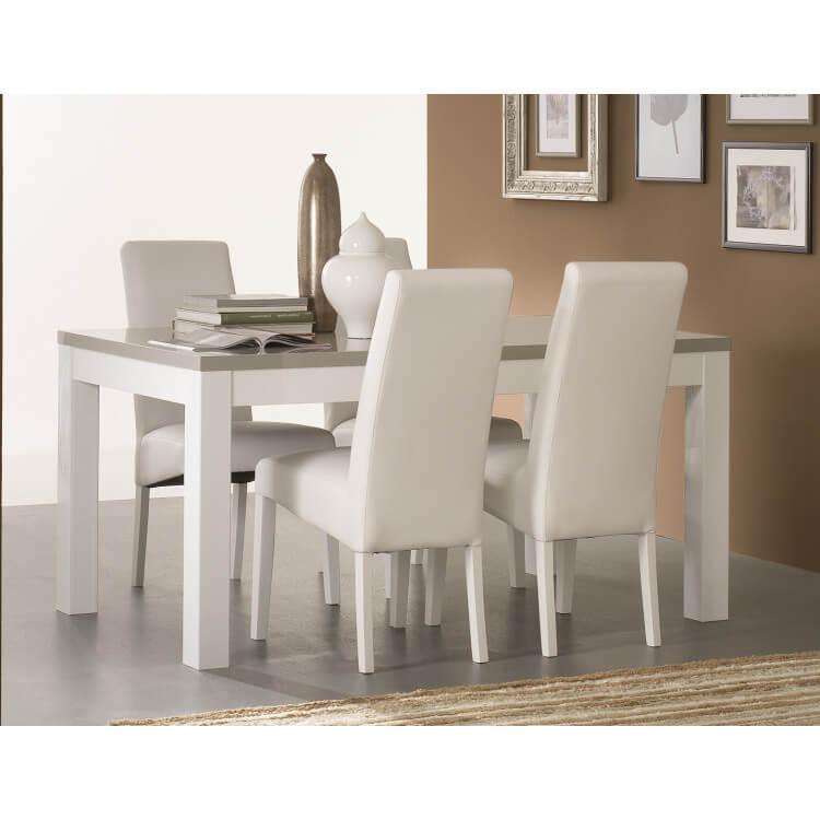 table de salle a manger design laquee blanche et grise jewel