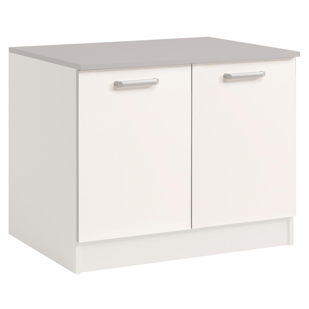 meuble bas de cuisine contemporain 120 cm 2 portes blanc brillant bianco matelpro