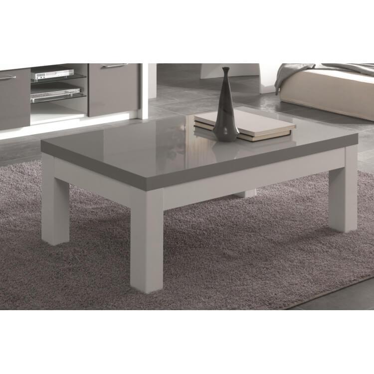 table basse rectangulaire design laquee blanc gris agadir
