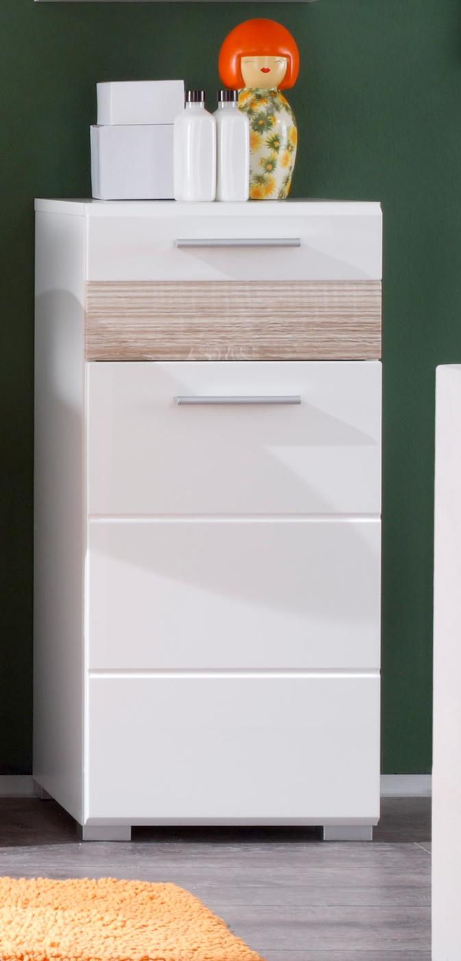 meuble bas de salle de bain design 1 porte 1 tiroir laque blanc decor chene honore