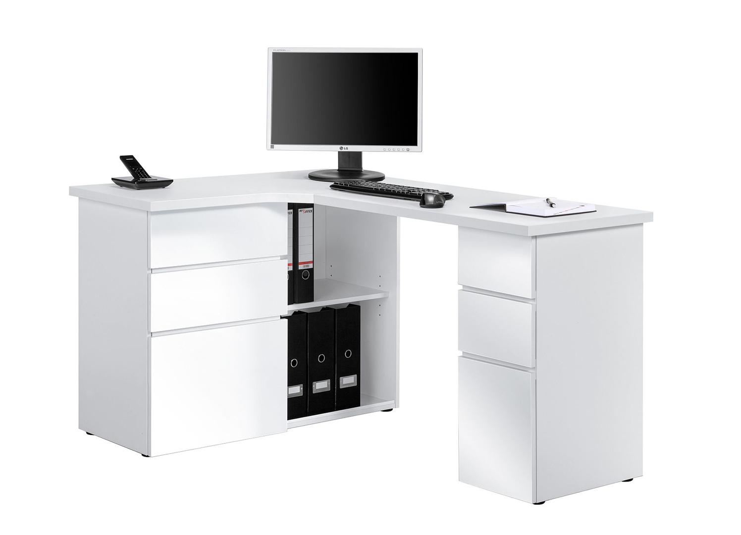 bureau informatique d angle contemporain avec rangement blanc brillant nayade