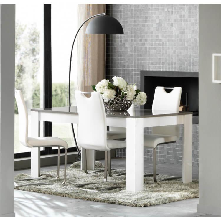 table de salle a manger design laquee blanc gris megane