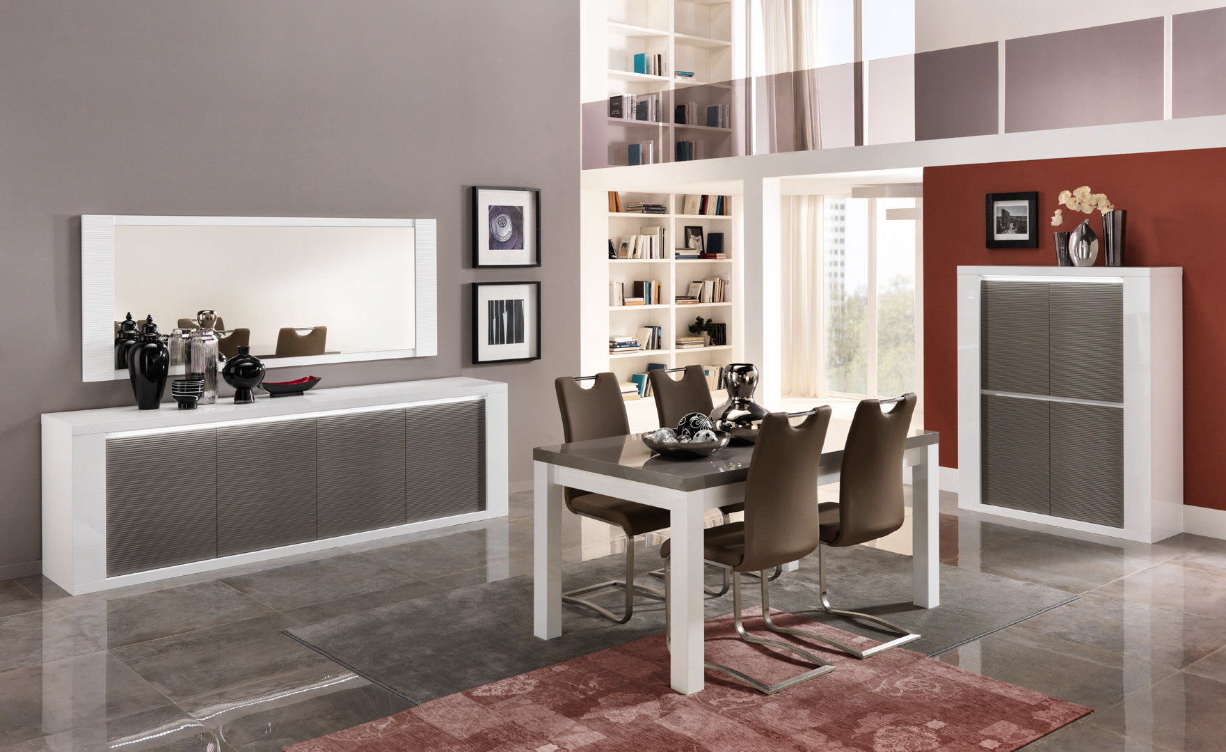 salle a manger design laquee blanc gris cecile matelpro