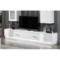 meuble tv design 240 cm laque blanc horus