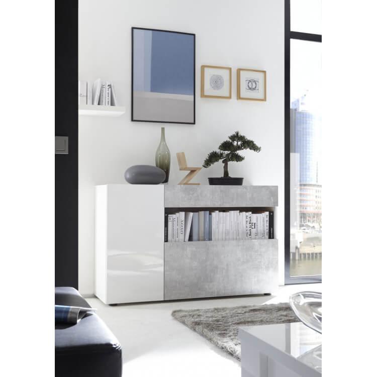 meuble de rangement design blanc laque beton camargue
