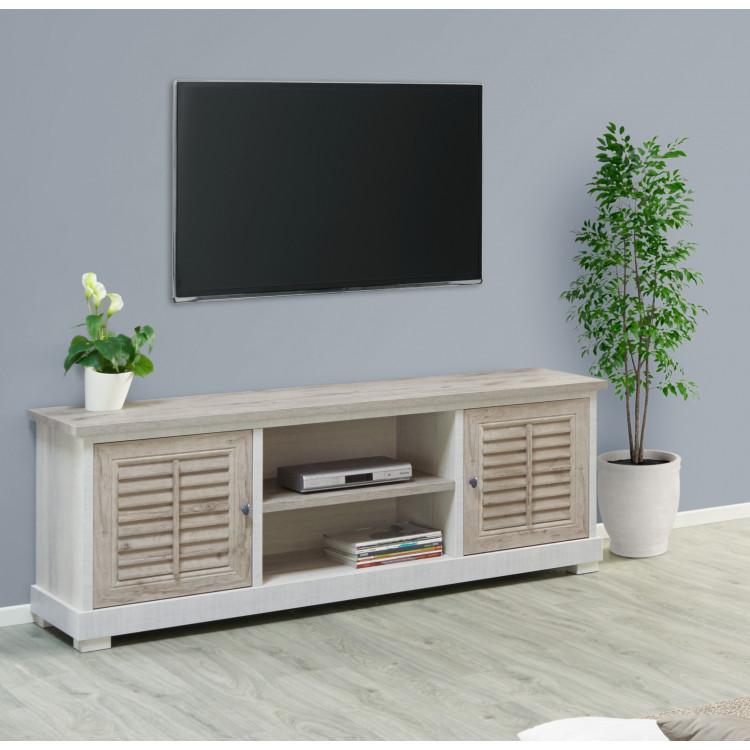 meuble tv contemporain chene blanchi chene marron clair honduras