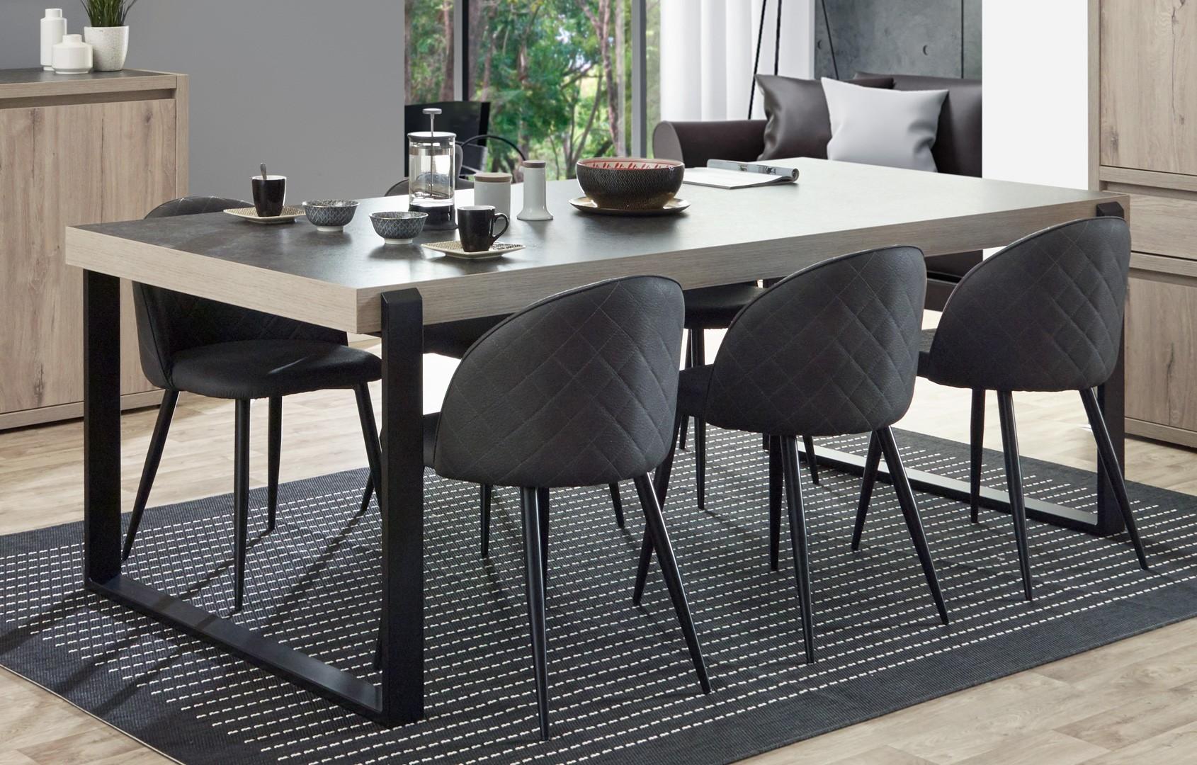 table de salle a manger contemporaine chene clair gris beton california