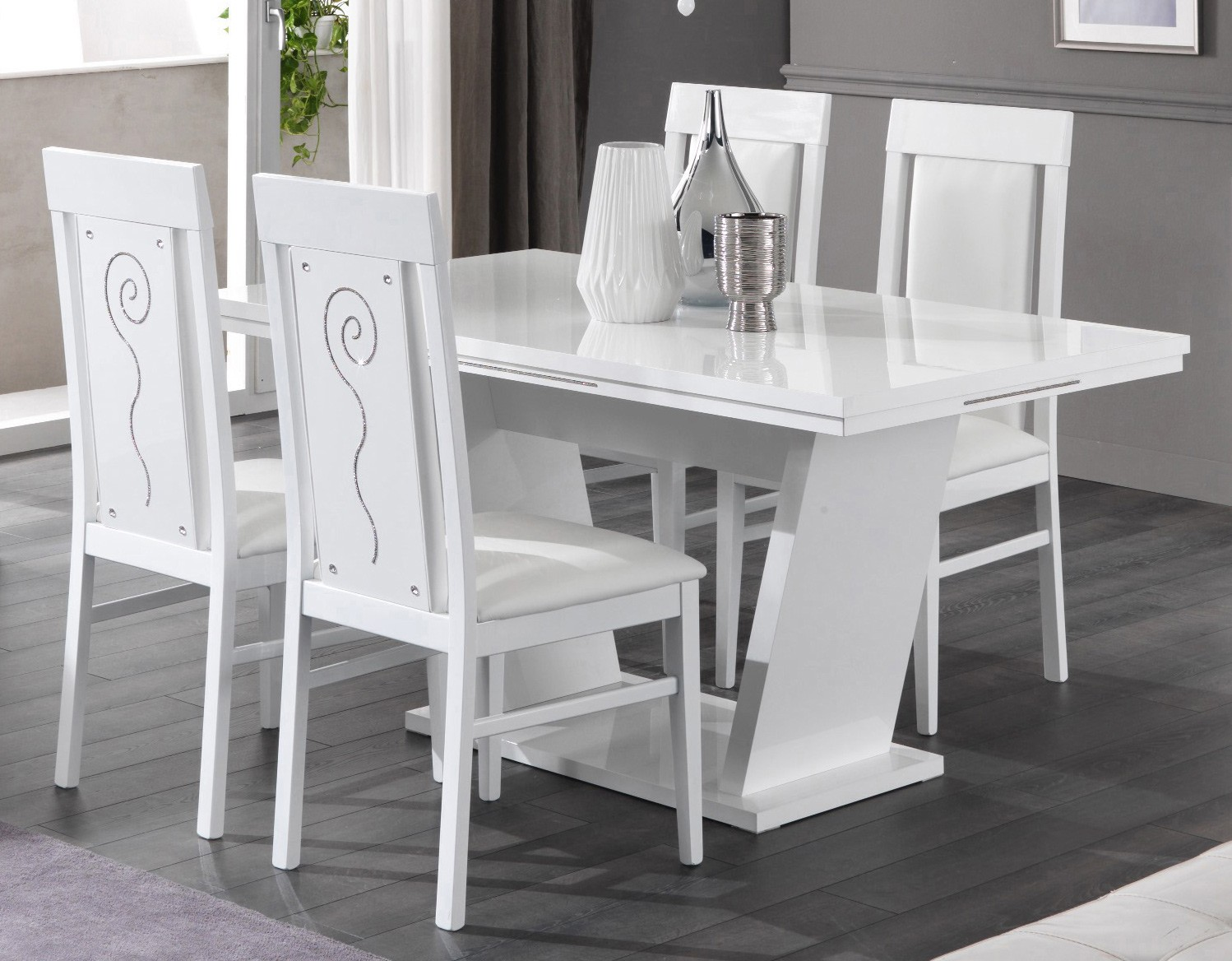 table de salle a manger design laque blanc brillant britany