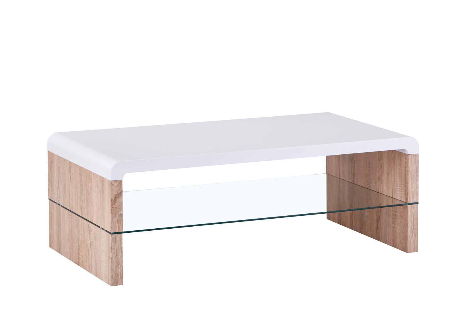 table basse contemporaine bois et verre chene clair blanc katia