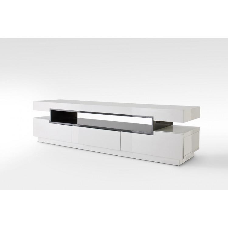 meuble tv moderne blanc laque brillant verner
