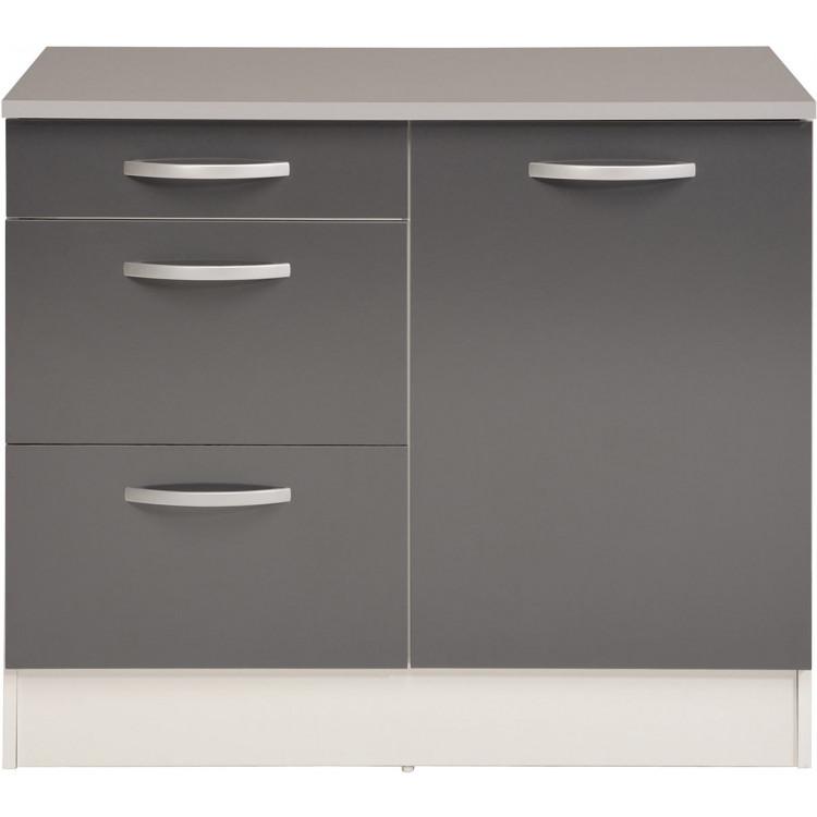 meuble bas de cuisine contemporain 100 cm 1 porte 3 tiroirs blanc gris brillant romaric
