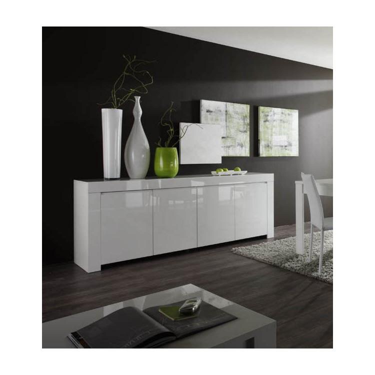 buffet bahut design laque blanc 210 cm twist