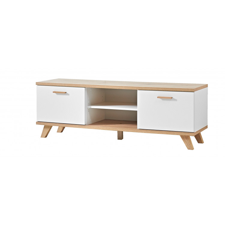 meuble tv scandinave chene blanc losana