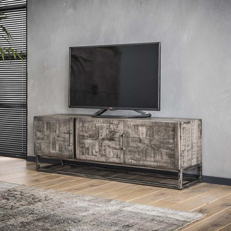 meuble tv industriel en bois massif laia
