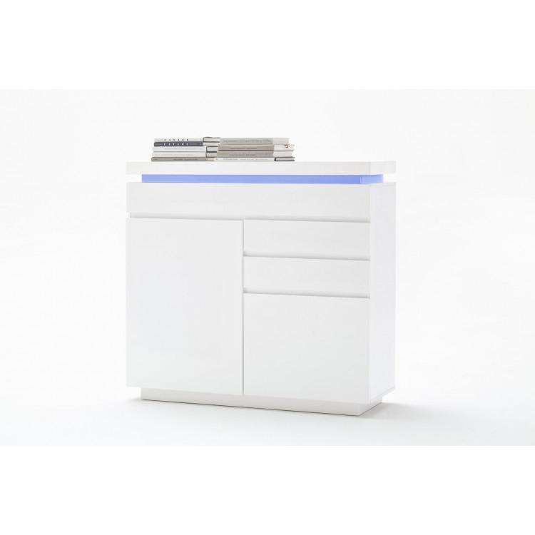 meuble de rangement moderne 120 cm laque blanc brillant atlantide