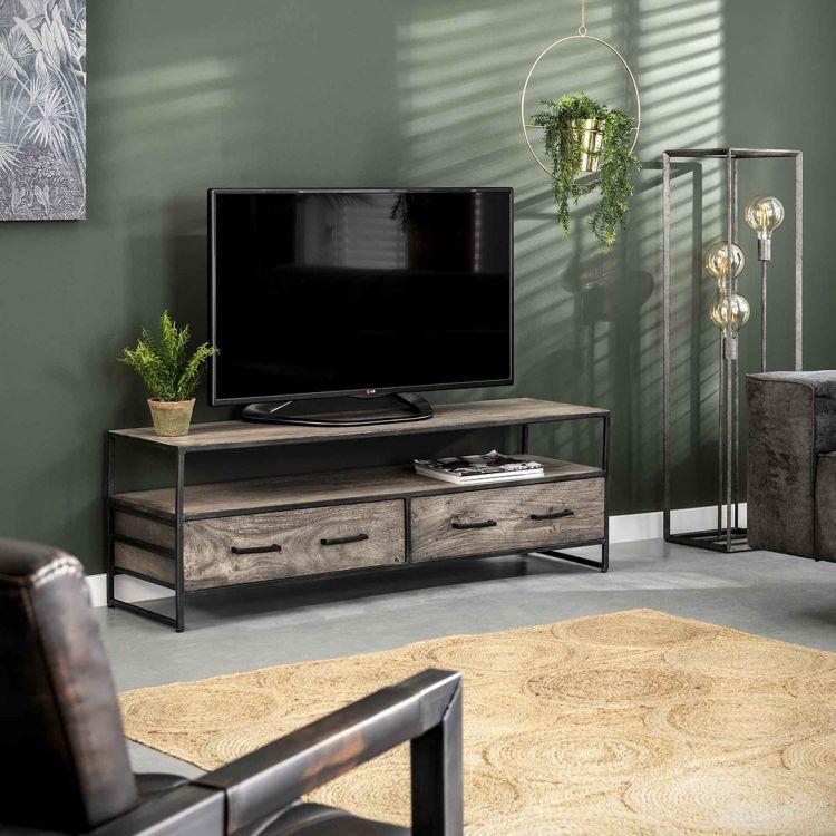 meuble tv industriel en acacia gris et metal leon