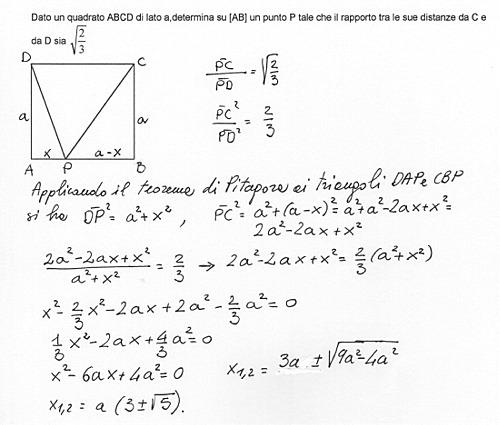 Dato Un Quadrato Abcd Di Lato A Determina Su Ab Un Punto P