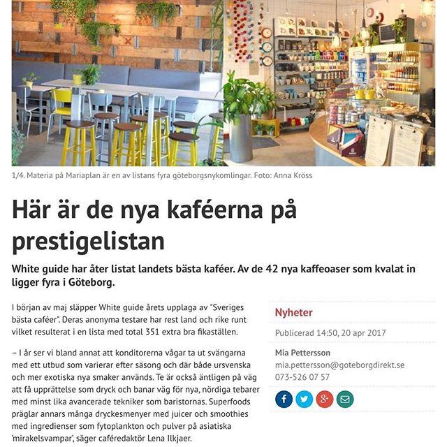 Kul att få vara med ️ http://www.goteborgdirekt.se/nyheter/har-ar-de-nya-kafeerna-pa-prestigelistan/repqds!fARPICCVG8B4KYC4UeOMKA #materiamajorna #whiteguide