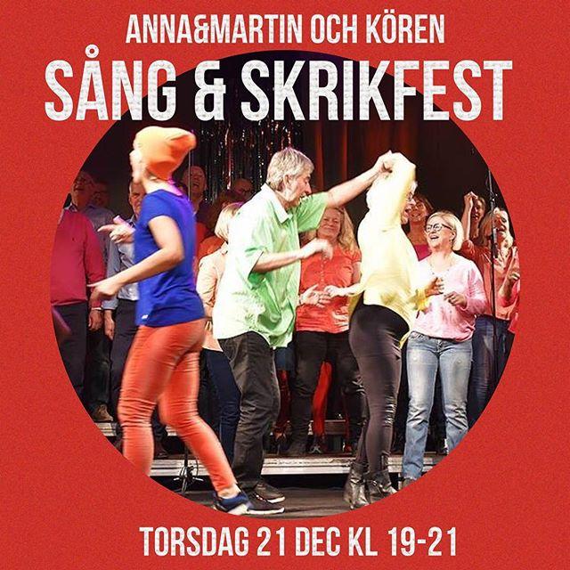 Ladda upp inför julkalasen med en sång och skrikfest med Anna&Martin och Kören. Efter kl 19 kör vi igång, det är bara att hänga in! Texterna kommer finnas på väggen....... Om du är hungrig så serveras det en rykande och god soppa med macka för en 100 lapp. Fri entre!!