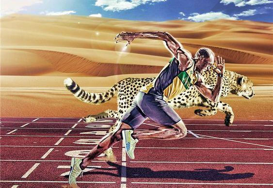 Corredor Usain Bolt x Guepardo