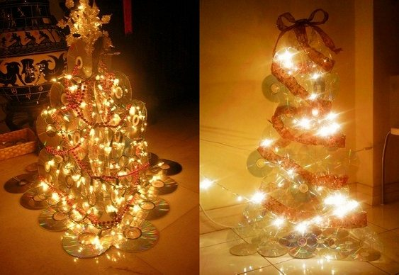 Árvore de Natal de CDs reciclados