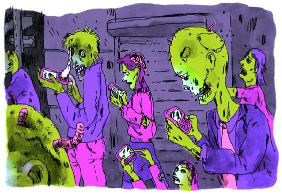 Zumbis com telefone