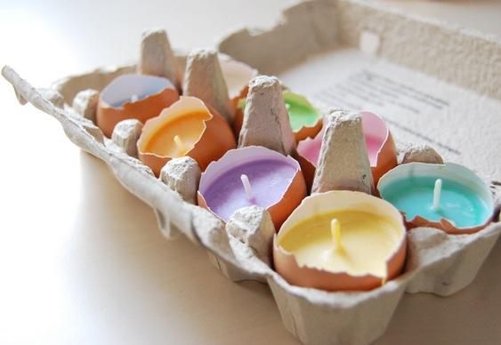 Castiçais de cascas de ovos cozidos
