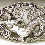 Sereia 3D modelada em fivela de prata maciça para cinto