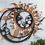 Painel Sol e Lua de metal em fusão da arte com tecnologia