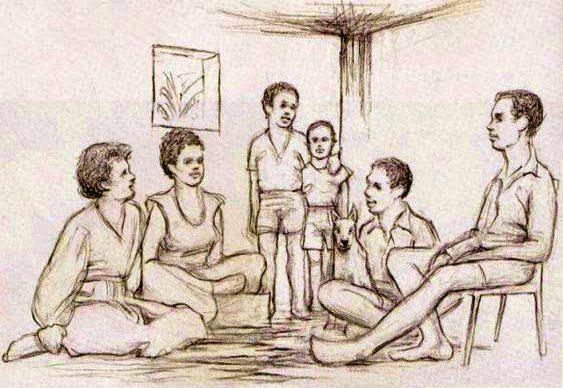 Família reunida na sala