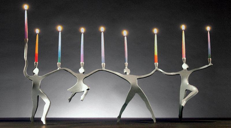 Escultura com silhuetas de metal
