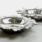 Prato ou tigela decorativos feitos com liga escorrida de pewter