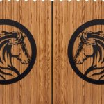Cavalo em painel de aço para portão e parede de casa de campo